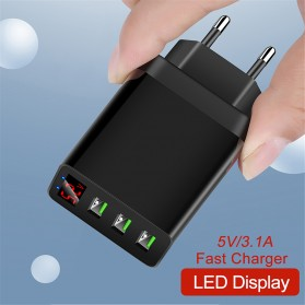 PMXBT Charger USB Fast Charging 3 Port with LED Indicator - Q4-LED - B05 - Black