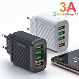 Awangs Charger USB Quick Charger QC 3.0 4 Port EU Plug - Black - 2