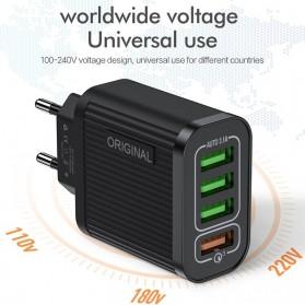 Awangs Charger USB Quick Charger QC 3.0 4 Port EU Plug - Black - 3