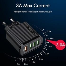 Awangs Charger USB Quick Charger QC 3.0 4 Port EU Plug - Black - 4
