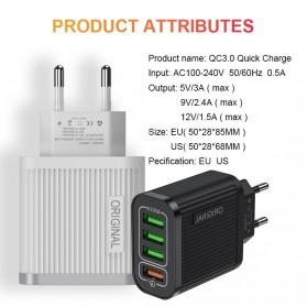 Awangs Charger USB Quick Charger QC 3.0 4 Port EU Plug - Black - 7