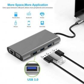 EASYIDEA Portable USB Type C Hub 10 in 1 HDMI + VGA + USB 3.0 + RJ45 + Card Reader + PD Charging - HB3004 - Gray - 2