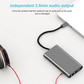 EASYIDEA Portable USB Type C Hub 10 in 1 HDMI + VGA + USB 3.0 + RJ45 + Card Reader + PD Charging - HB3004 - Gray - 3