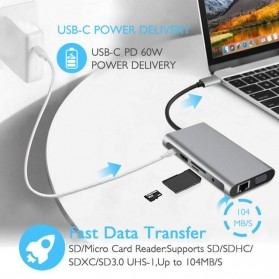 EASYIDEA Portable USB Type C Hub 10 in 1 HDMI + VGA + USB 3.0 + RJ45 + Card Reader + PD Charging - HB3004 - Gray - 4
