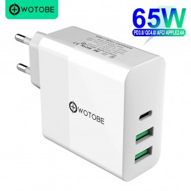 WOTOBE Charger USB Type C PD Quick Charge 3 Port 65W - PD653A - White