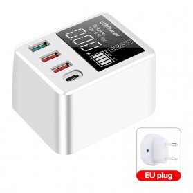 Baterai & Charger - ASOMETECH Charger USB Fast Charging USB Type-C QC3.0 30W 4 Port with Volt Meter- WLX-A9T - White