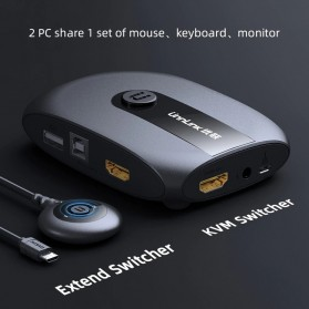 Unnlink KVM HDMI Switcher Mouse Keyboard Share USB 2.0 with Extender - 0949 - Black