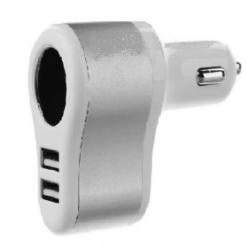 Car Charger 2 USB Port dengan Socket Cigarette - Silver