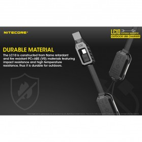 Nitecore Kabel Charger USB Outdoor Portable Magnetic for Li-ion IMR - LC10 - Black - 6