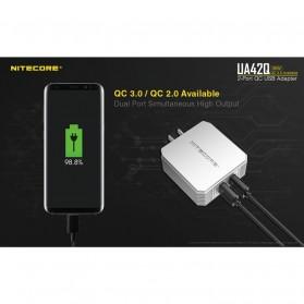 NITECORE Charger USB 2 Port 3A Quick Charge 3.0 - UA42Q - Silver - 2