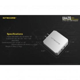 NITECORE Charger USB 2 Port 3A Quick Charge 3.0 - UA42Q - Silver - 3