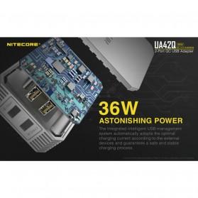 NITECORE Charger USB 2 Port 3A Quick Charge 3.0 - UA42Q - Silver - 4
