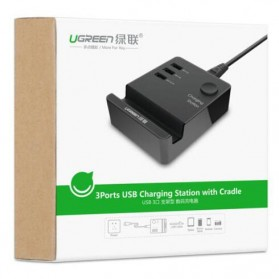 UGreen USB Charging Station 3 Port with Smartphone Holder - Black - 4