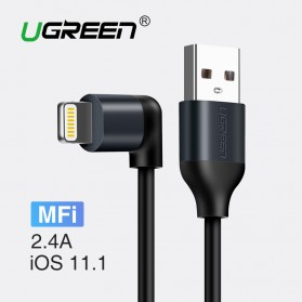 UGREEN Kabel Charger Lightning  L Shape 2.4A 1 Meter - Black