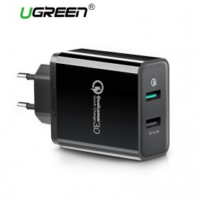 UGREEN Charger USB 2 Port QC 3.0 30W- CD132 - Black