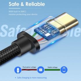 UGREEN Kabel Charger USB Type C 2.0 Nylon Braided 1.5 Meter - US174 - Black - 7