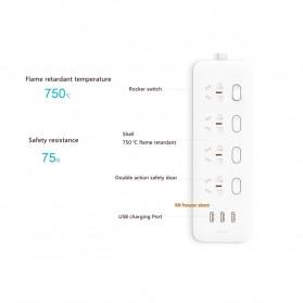 Xiaomi Mijia Smart Power Strip Stop Kontak 4 Electric Plug + 3 Port USB 5V 2.1A Fast Charging - White - 4