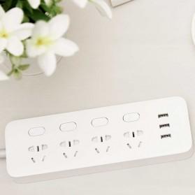 Xiaomi Mijia Smart Power Strip Stop Kontak 4 Electric Plug + 3 Port USB 5V 2.1A Fast Charging - White - 5