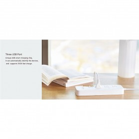 Xiaomi Mijia Smart Power Strip Stop Kontak 4 Electric Plug + 3 Port USB 5V 2.1A Fast Charging - White - 11