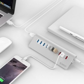 Orico Aluminium USB 3.0 High Speed HUB 7 Port + 3 Charging Port - M3H73P - Silver - 4