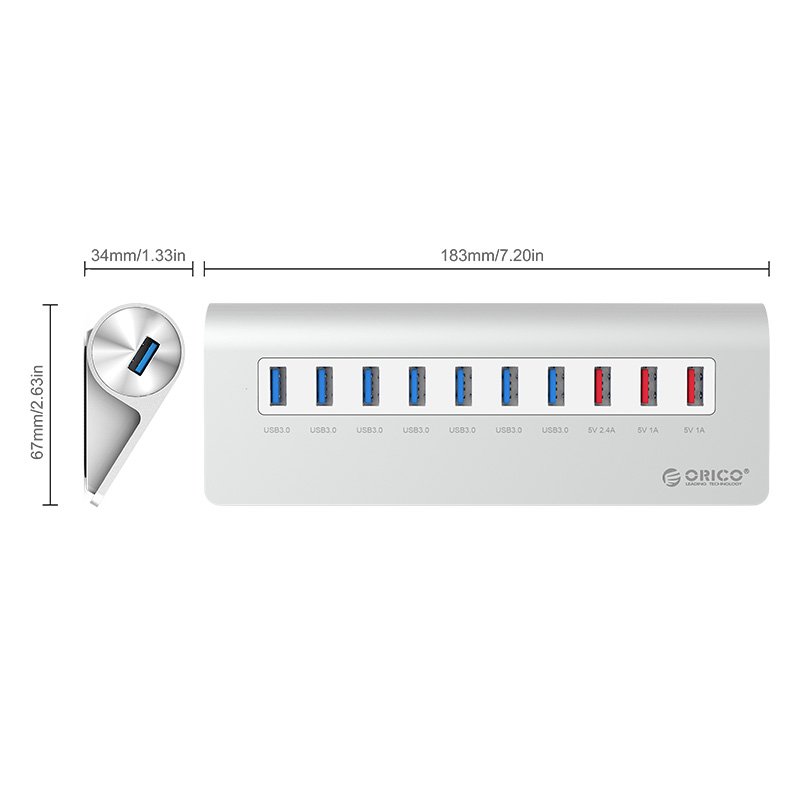 Orico Aluminium USB 3.0 High Speed HUB 7 Port + 3 Charging ...