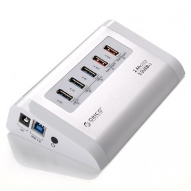 Jual USB Hub / Port - Orico Aluminium USB 3.0 High Speed HUB 3 Port + 2 Charging Port - UH3C2 - Silver