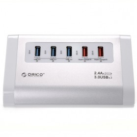 Orico Aluminium USB 3.0 High Speed HUB 3 Port + 2 Charging Port - UH3C2 - Silver - 3