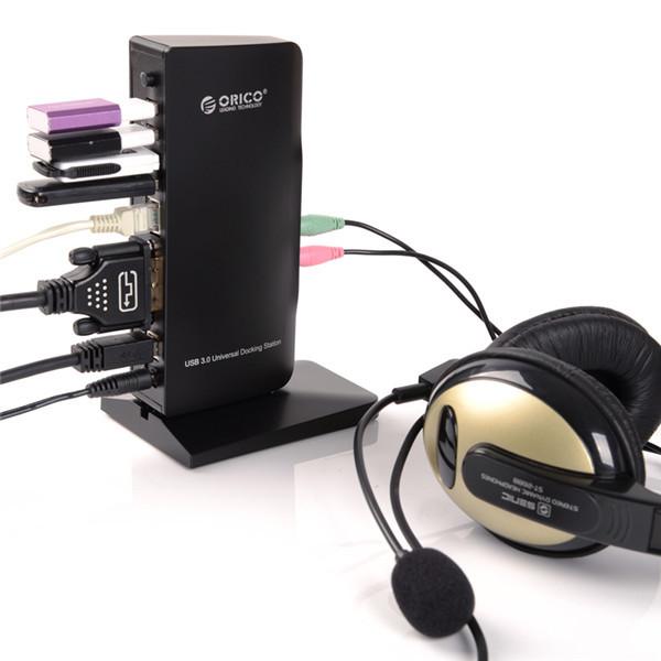 ... ORICO Universal External USB 3.0 to DVI 1000M RJ45 Audio Microphone 3.0 HUB Docking Station ...