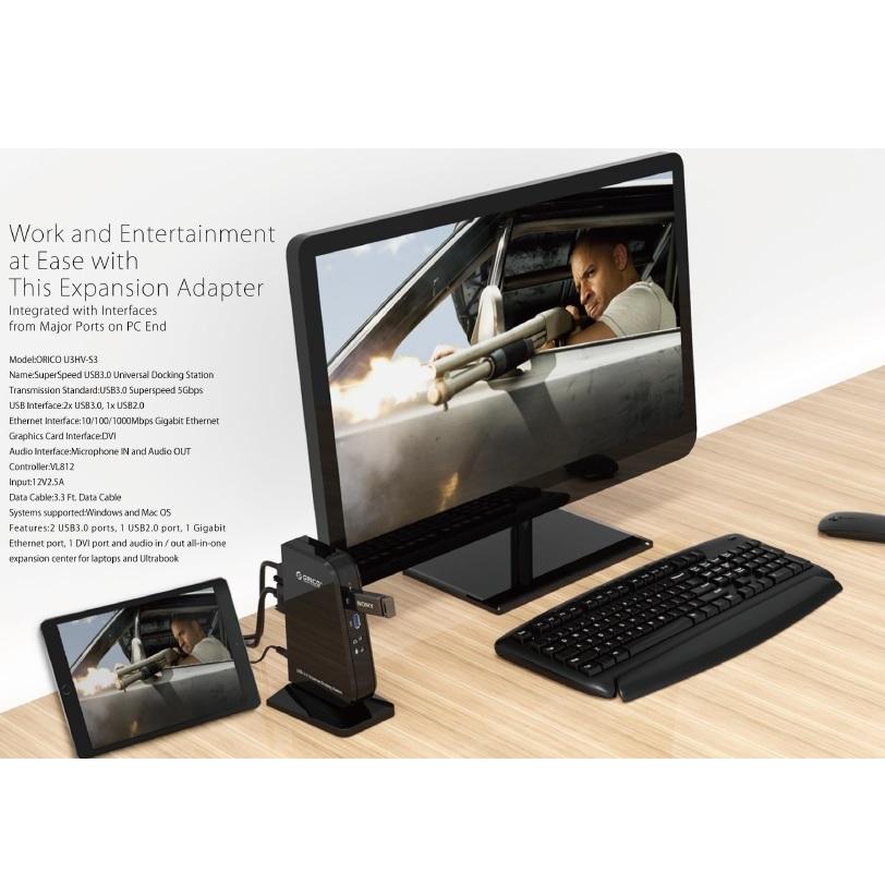 ORICO Universal External USB 3.0 to DVI 1000M RJ45 Audio Microphone 3.0 HUB Docking Station ...