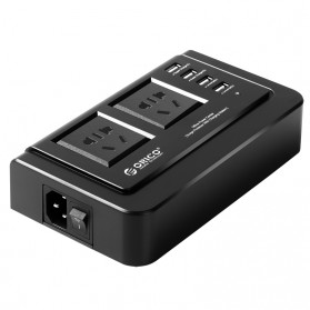 Orico Wall Charger with 2 AC Outlet and 4 USB Charger Port - OPC-2A4U - Black