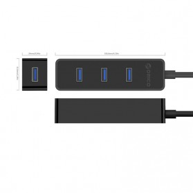 Orico Ultra Mini USB 3.0 High Speed HUB 4 Port 30CM Cable - W5PH4-U3 - Black - 5
