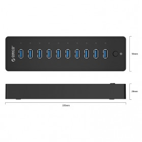 ORICO 10 Port USB 3.0 HUB with 1M USB 3.0 Cable - P10-U3 - Black - 7