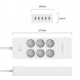 Orico Wall Charger with 6 AC Outlet and 5 USB Super Charger Port - HPC-6A5U - White - 2