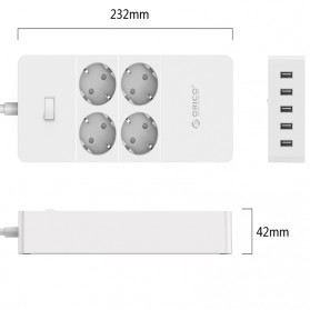 Orico Wall Charger with 4 AC Outlet and 5 USB Super Charger Port - HPC-4A5U - White - 2