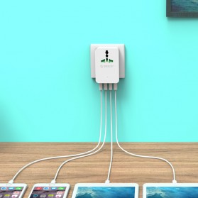 Orico 20W Universal Travel Power Plug with 4 USB Charging Ports - S4U - White - 3