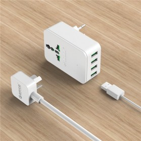 Orico 20W Universal Travel Power Plug with 4 USB Charging Ports - S4U - White - 4