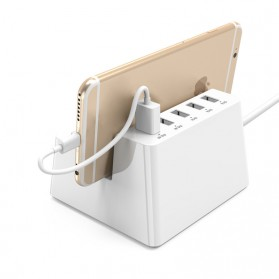 Orico Wall Charger with 2 AC Outlet and 5 USB Charger Port - ODC-2A5U - White - 2