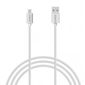 Orico Nylon Braided Micro USB Charging Data Cable for Smartphone - Silver - 2