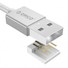 Orico Nylon Braided Micro USB Charging Data Cable for Smartphone - Silver - 3