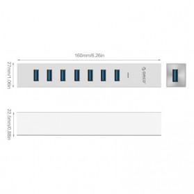 Orico Aluminium USB 3.0 Type A / C High Speed HUB 7 Port - ASH7-U3 - Silver - 5