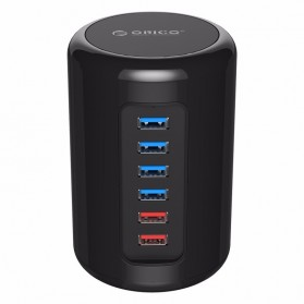 Orico Mac Style USB 3.0 High Speed HUB 4 Port and 2 Charging Port - RH4CS - Black