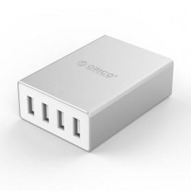 Baterai & Charger - ORICO Aluminium 4 Port Desktop Charger - ASK-4U - Silver