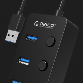 Orico USB 3.0 High Speed USB HUB 4 Port with On/Off Switch - W9PH4-V1 - Black - 3