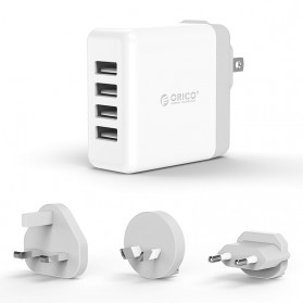 ORICO USB Travel Charger UK AU EU 4 Port 34W - DSP-4U - White
