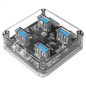 Orico USB Hub 3.0 4 Port Transparent Design 1 Meter - MH4U-U3 - Transparent - 1