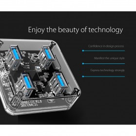 Orico USB Hub 3.0 4 Port Transparent Design 1 Meter - MH4U-U3 - Transparent - 5