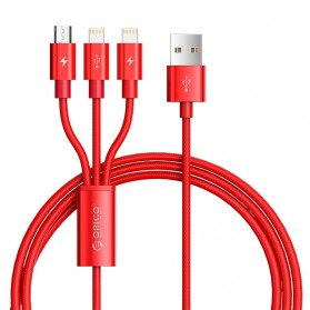 Orico 3 in 1 Kabel Charger 2xLightning + Micro USB 1.2M - UTS3-12 - Red - 4