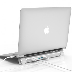 Orico USB Hub 3.0 High Speed 4 Port with Laptop Stand - M4U3 - Silver - 4