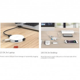 Orico USB Hub 3.0 4 Port Meter with Data Cable - HA4U-U3 - Black - 9