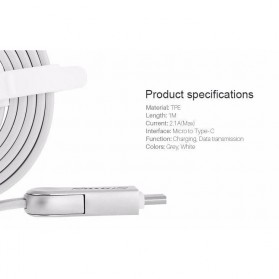 Nillkin Plus III Micro USB and Type-C Sync Data Charging Cable - White - 7